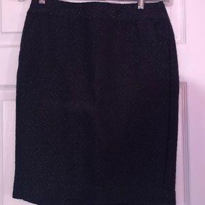 Merona Navy Blue/Gold Detail Skirt (Size 2)